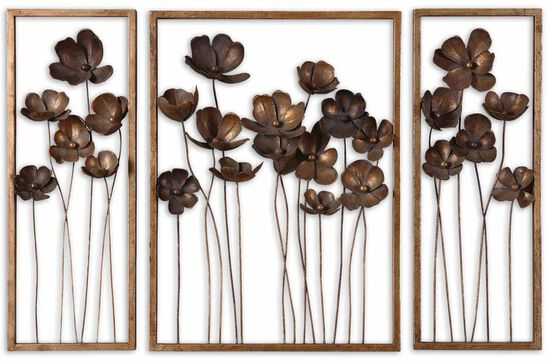 Three-Piece Hand-Forged Tulips Wall Art in Antiqued Gold Leaf