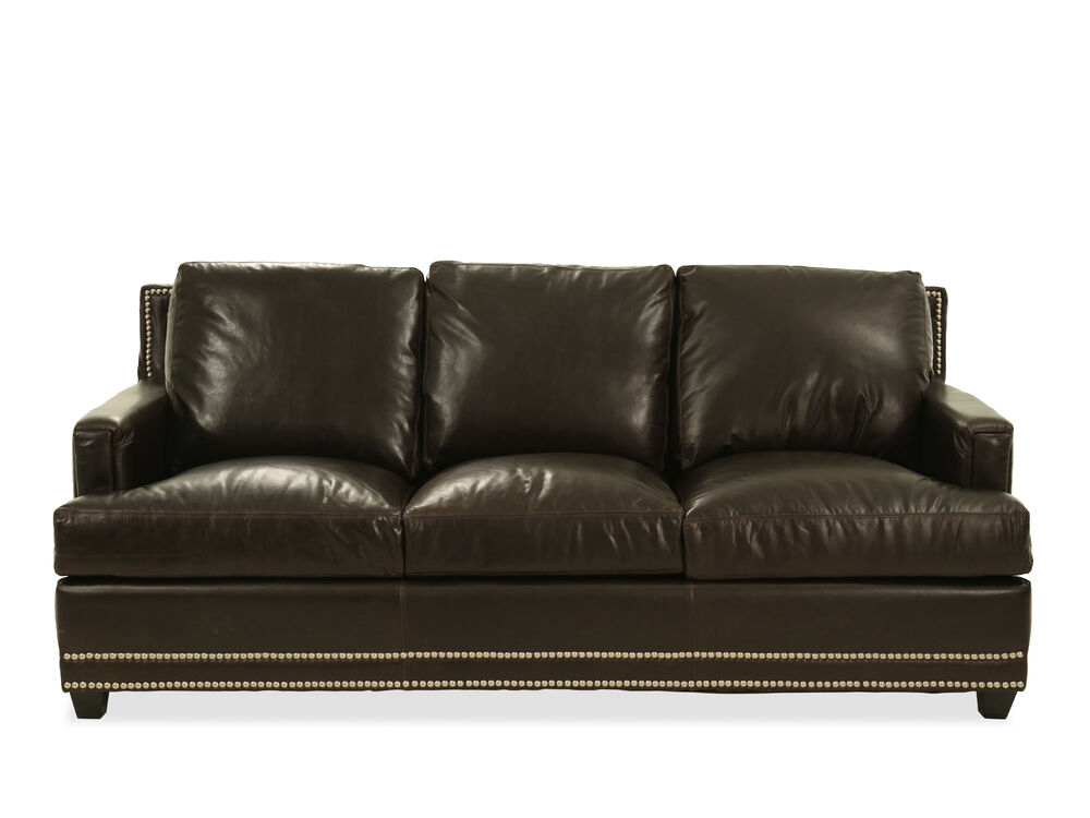 Nailhead-Trimmed Leather Sofa in Brown | Mathis Brothers Furniture