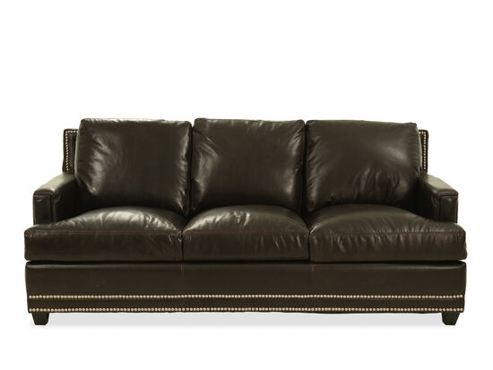 Nailhead-Trimmed Leather Sofa in Brown