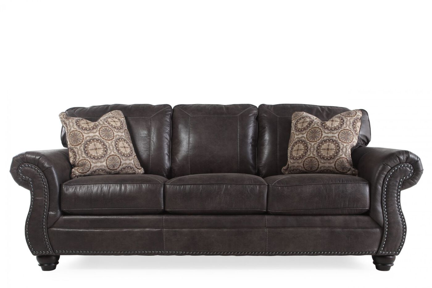 Traditional nailhead accented 89 sofa in charcoal for Traditional sofa