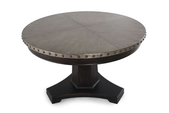 """Transitional 48"""" Riveted Pedestal Dining Table in Deep Brown"""