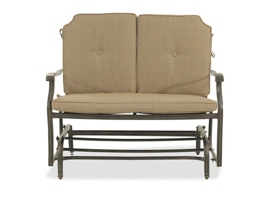 Button-tufted Casual Glider Loveseat in Beige