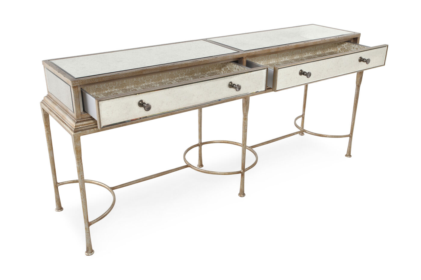 Two drawer traditional console table in antique gold for Sofa table vs console table