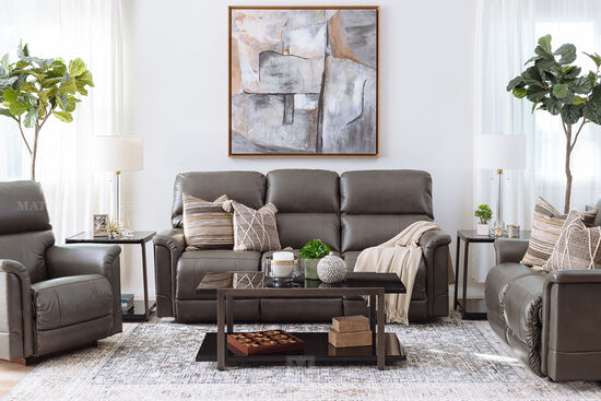 """Power Reclining Leather 85"""" Sofa in Gray"""