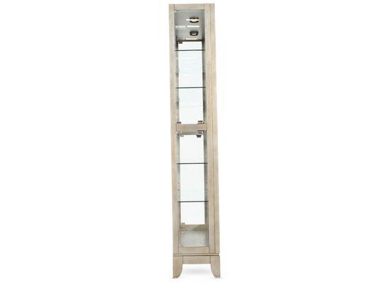 Five-Shelf Traditional Side Door Curio in Platinum