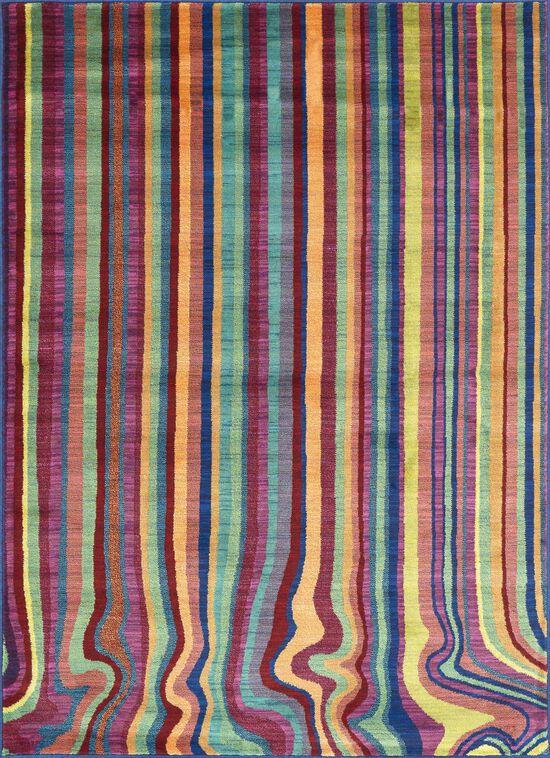 """Contemporary 3'-9""""x5'-2"""" Rug in Multi Stripe"""