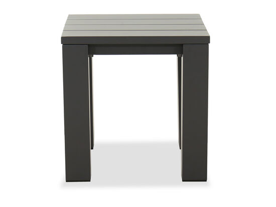 Slat Top Aluminum Patio End Table in Gray
