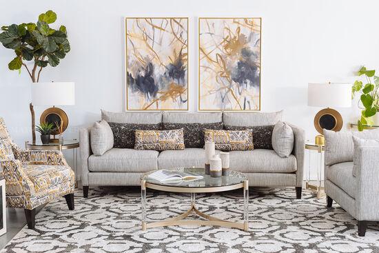 """Transitional 97"""" Three-Cushion Sofa in Grey"""