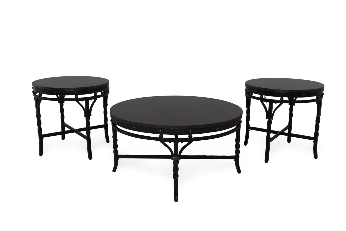 Three Piece Nailhead Accented Contemporary Coffee Table Set In Dark Espresso Mathis Brothers