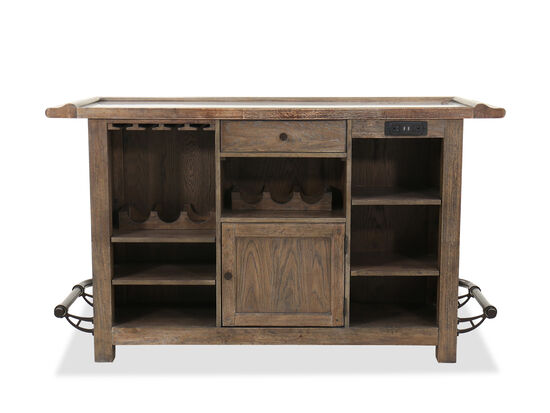 USB Ports 42'' Bar Cabinet in Brown