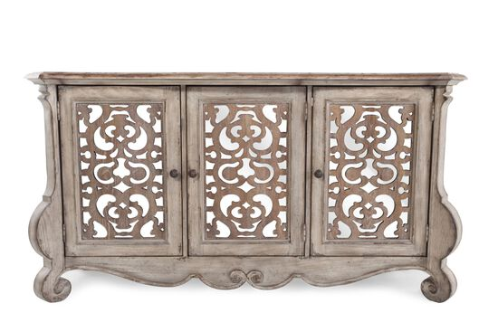 "36"" Scrollwork Insert Traditional Entertainment Console in Warm Pecan"