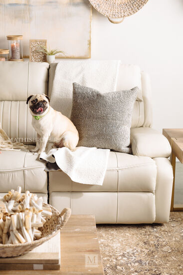 Channel Pleated Leather Power Reclining Sofa in Ivory