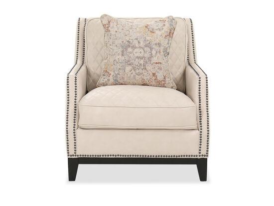 Nailhead Detail Leather Chair in Cream