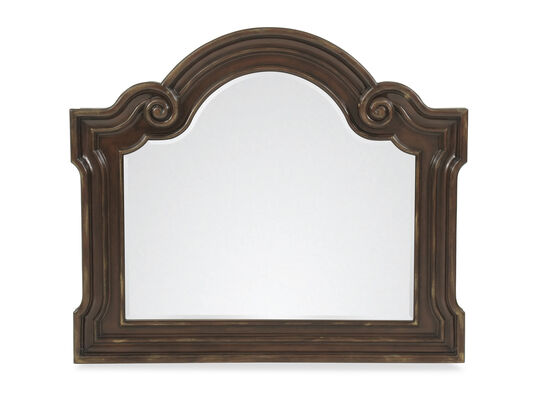 Rectangular Scroll Frame Accent Mirror in Cherry