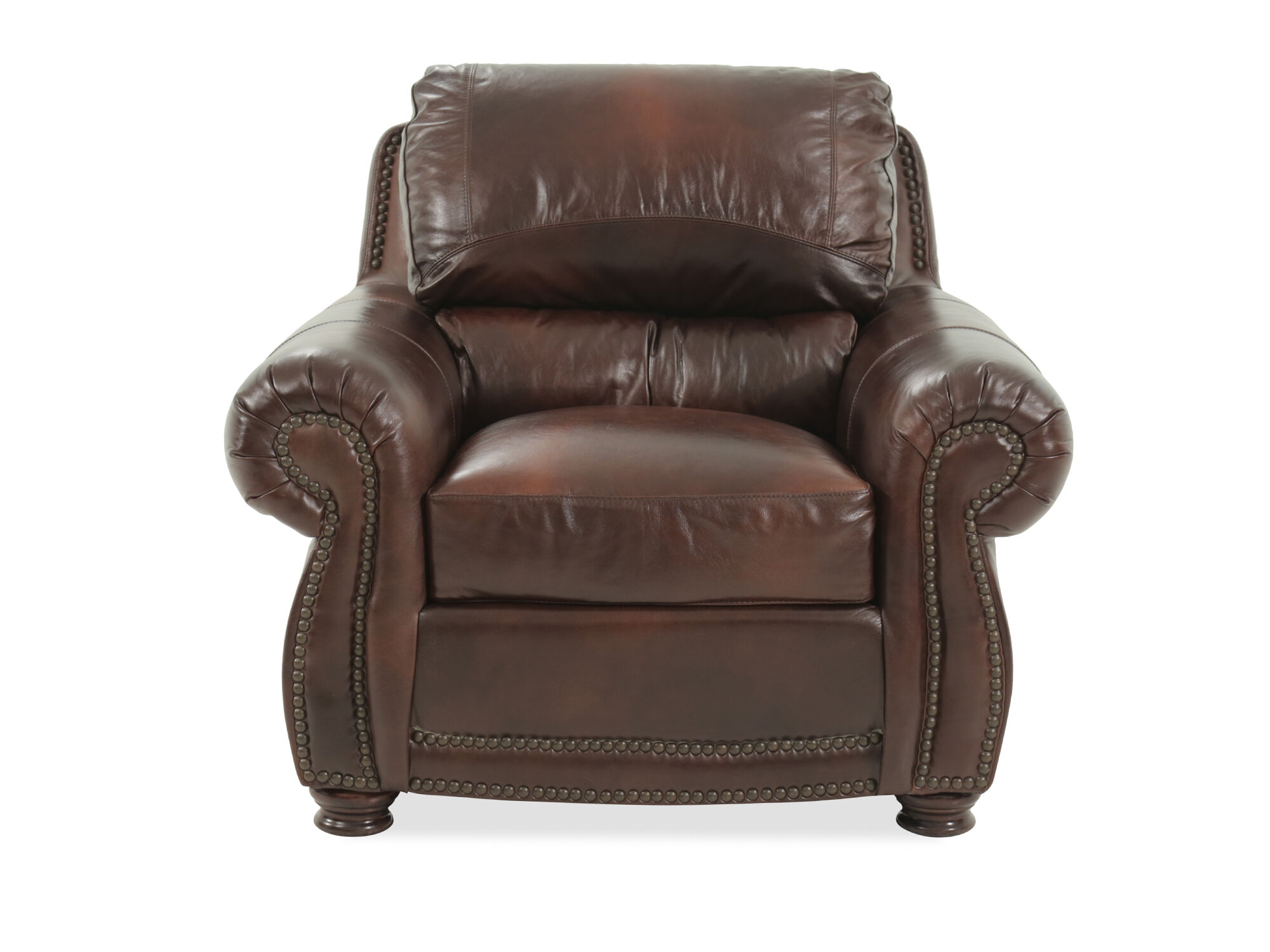 Nailhead Trimmed Leather 45u0026quot; Chair In Brown ...