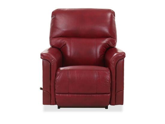 Leather 37.5'' Rocker Recliner in Crimson