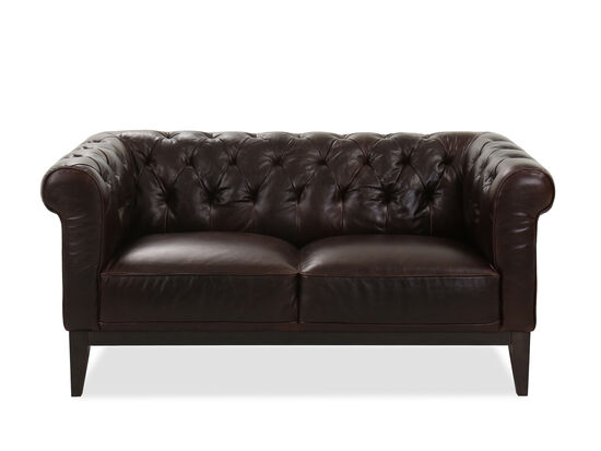 Tufted Leather Loveseat in Cocoa