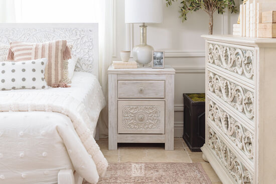Traditional Two-Drawer Youth Nightstand in White Wash