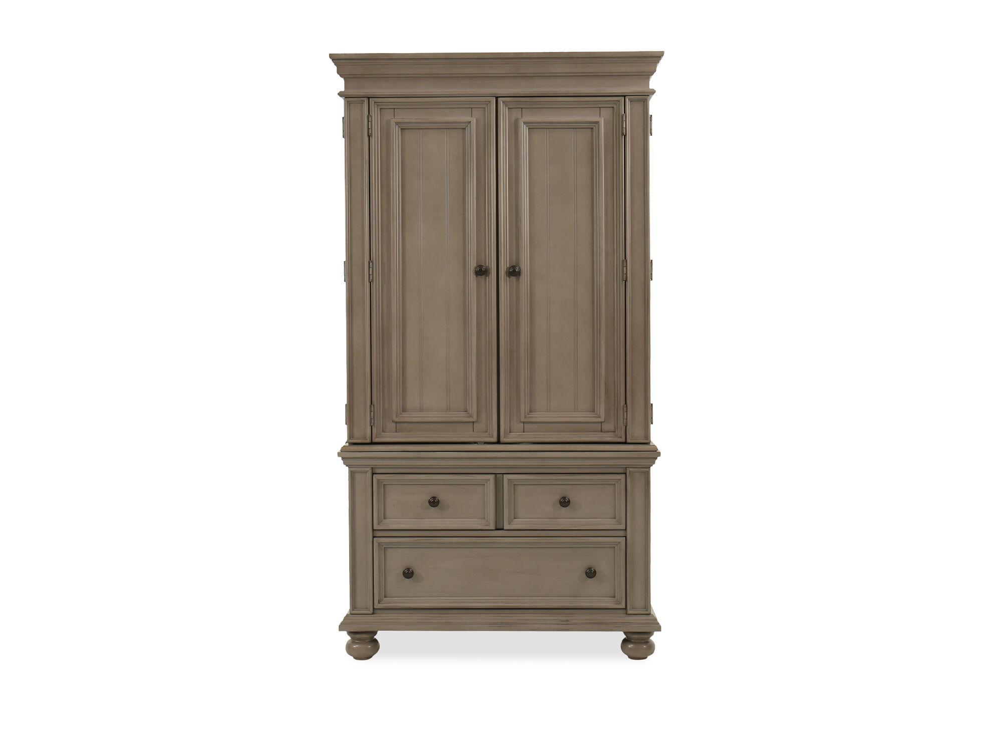 Casual Two Door Armoire In Khaki Gray