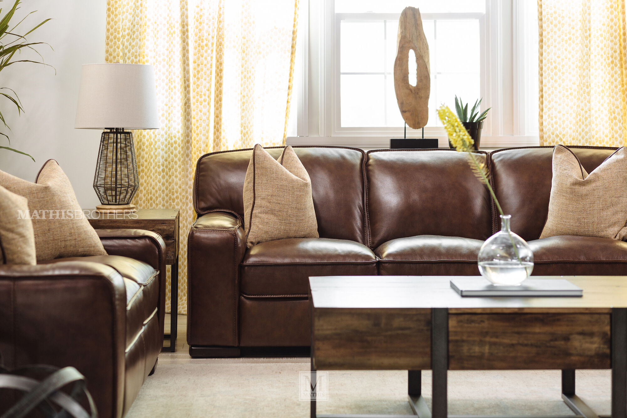 Traditional leather 69 loveseat