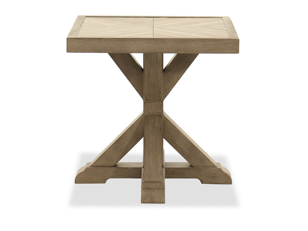 Aluminum Square End Table in Beige