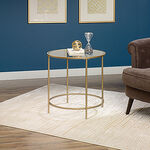 Round Side Table in Satin Gold