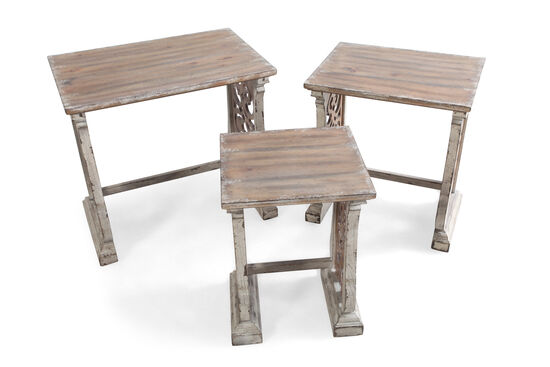 Three-Piece Square Mission Nest of Tables in White