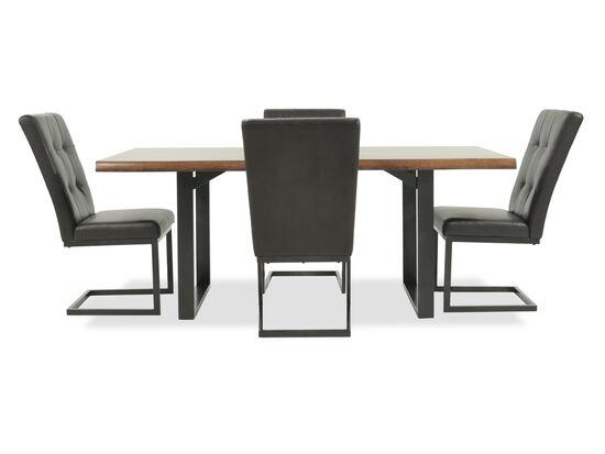 Five-Piece Tufted Mid-Century Modern 74'' Dining Set in Medium Brown