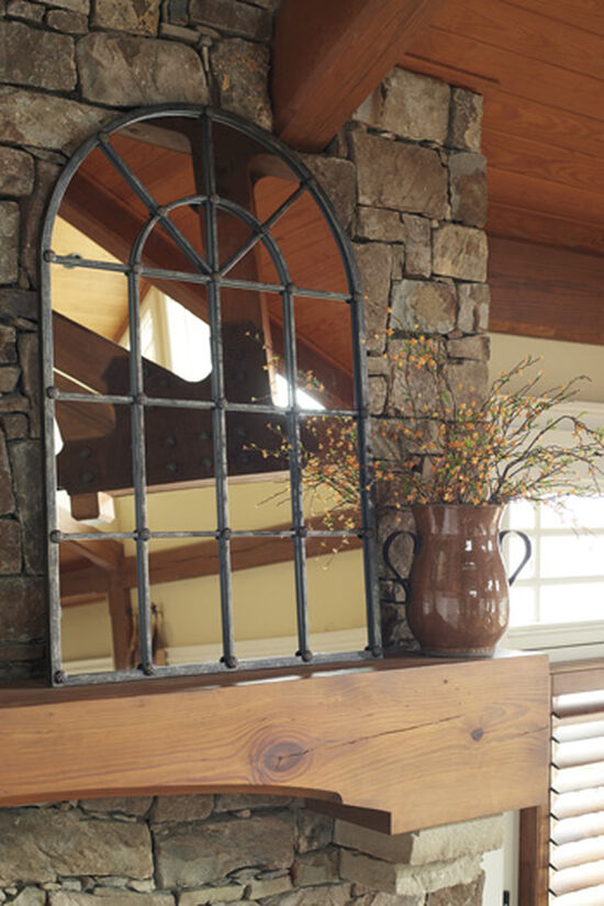 """46.5"""" Traditional Arched Window Accent Mirror in Burnished Bronze"""