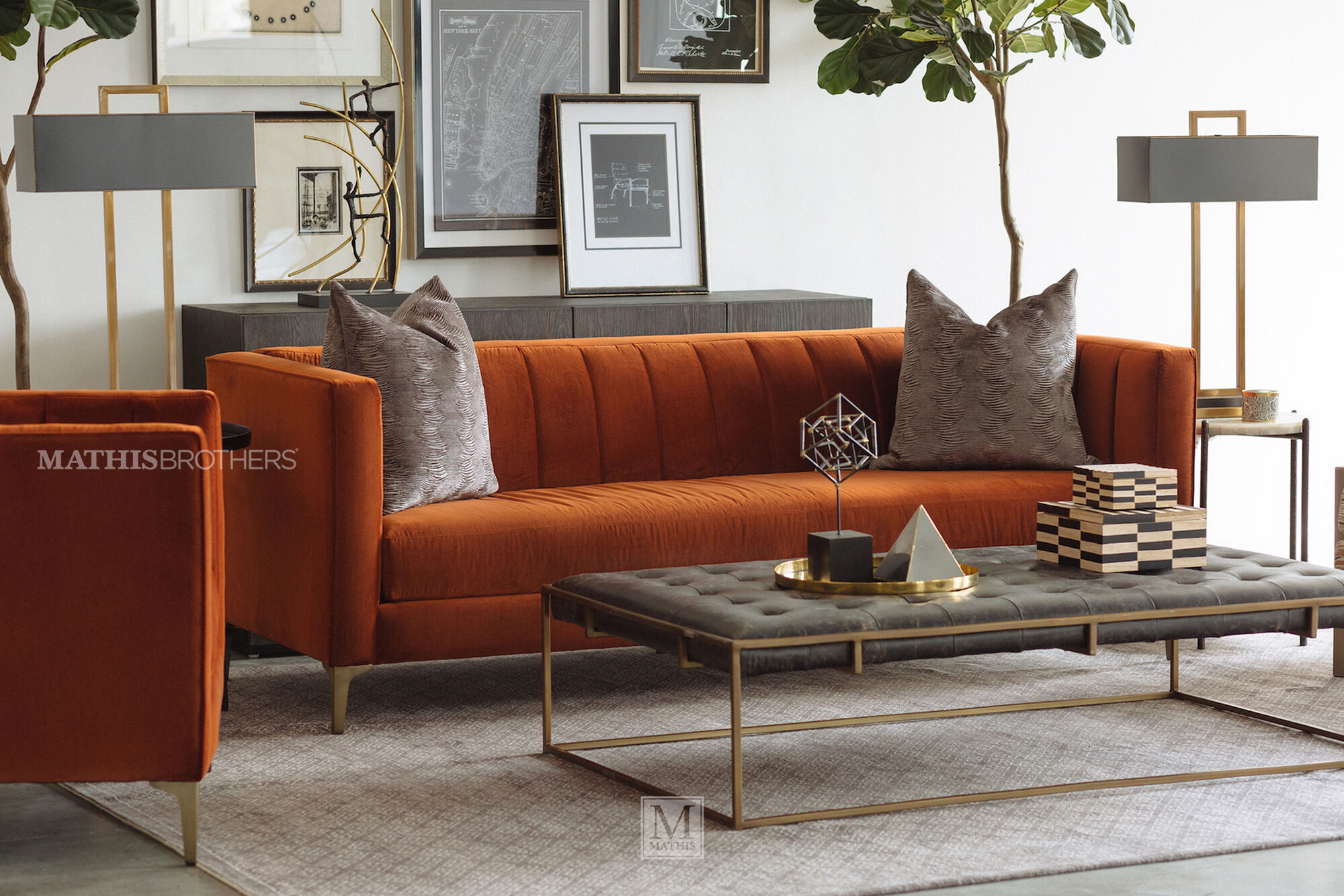 Two Piece 28 Nesting Cocktail Ottoman In Brown Mathis