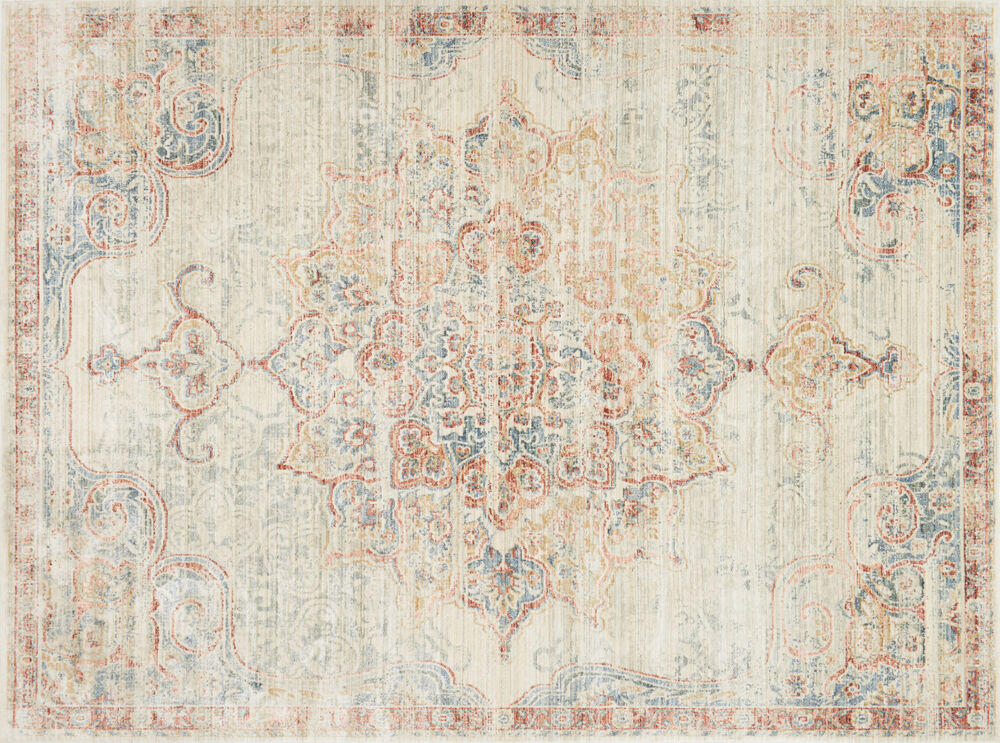 ED Ellen DeGeneres Crafted by Loloi Trousdale Power Loomed Rug in Ivory/Red