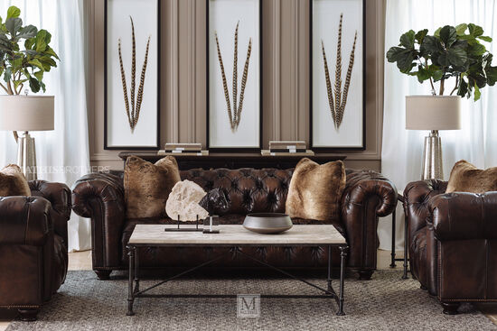 """Nailhead-Accented Contemporary 57.5"""" Leather Chair & a Half in Brown"""