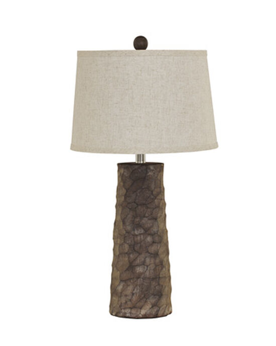 Casual Carved Cylindrical Table Lamp in Gray