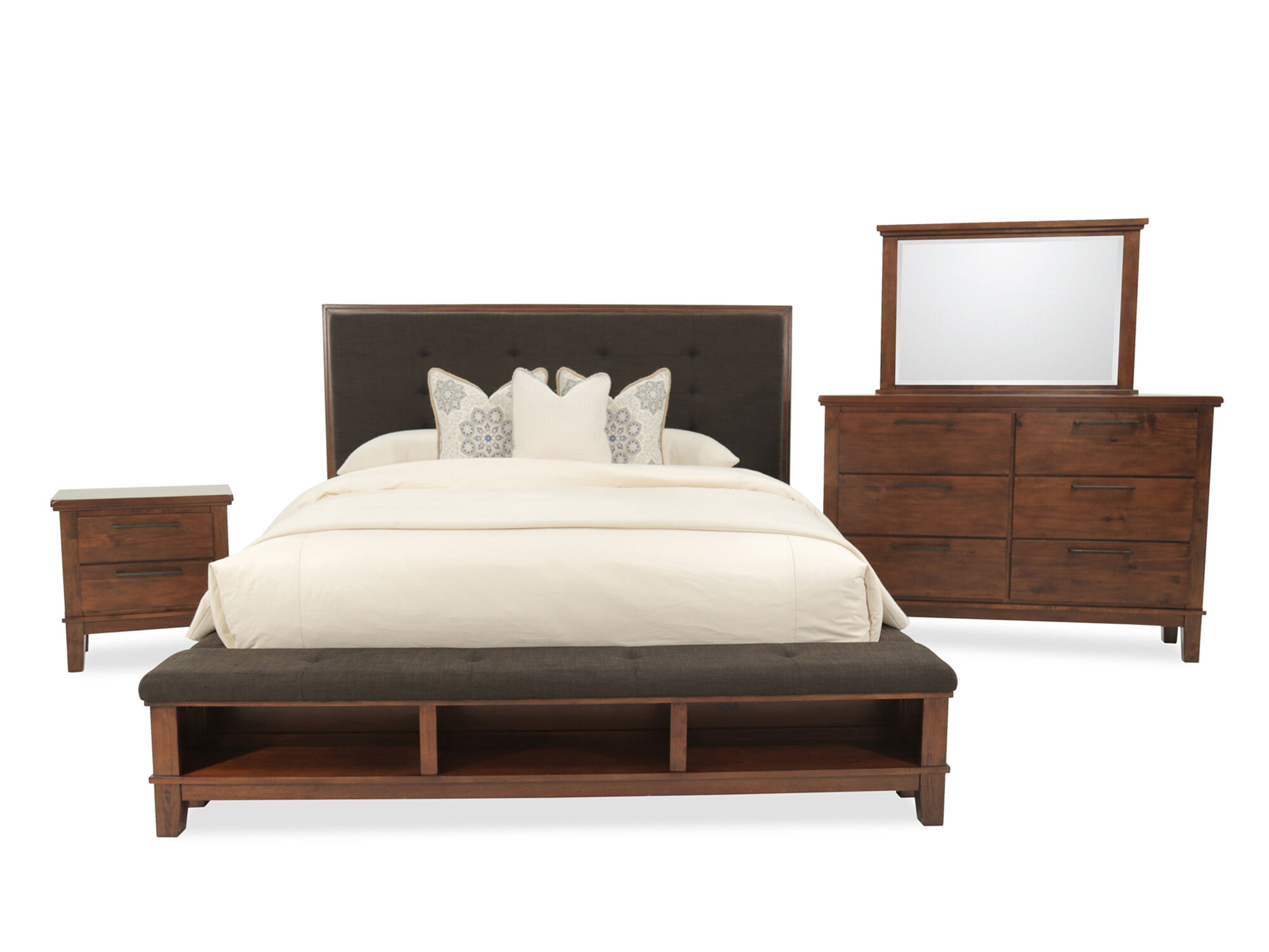 Four-Piece Contemporary Storage Bedroom Set in Brown | Mathis ...