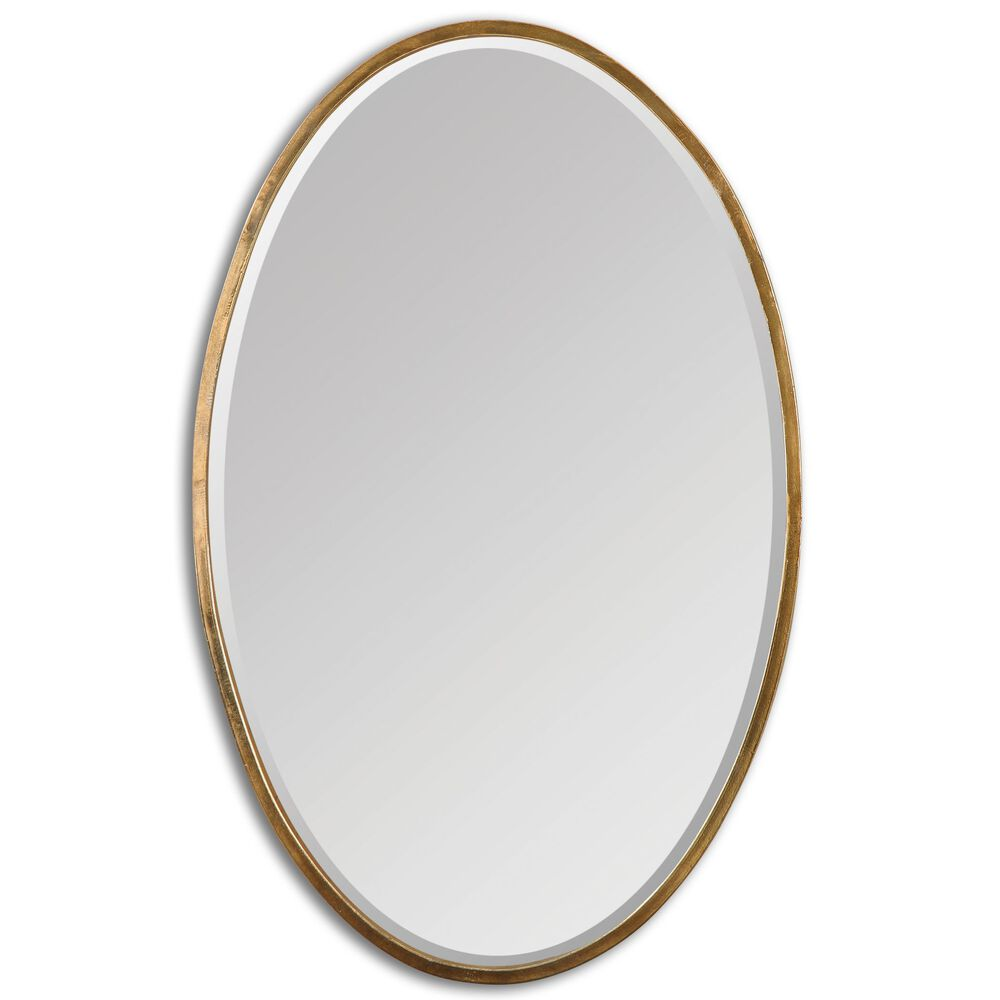 """28"""" Hand Forged Beveled Accent Mirror in Antiqued Gold"""