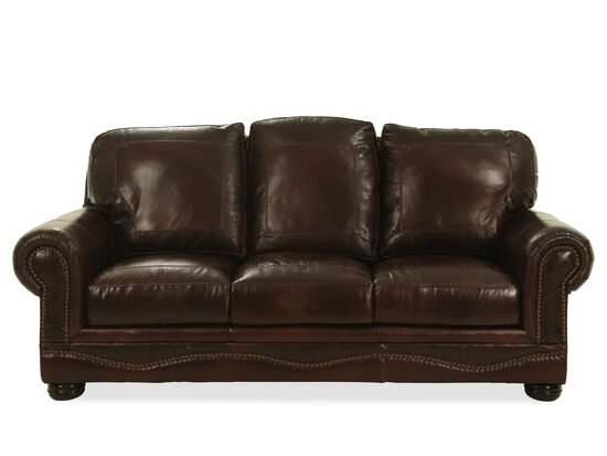 """Nailhead-Accented Leather 90"""" Sofa in Cabernet"""