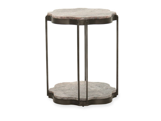Transitional Marble Top End Table in Gray