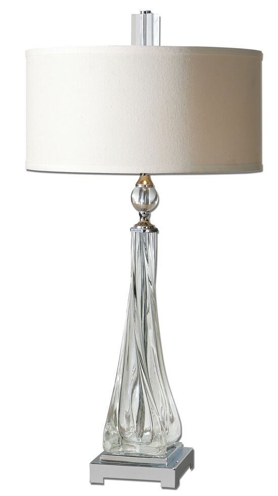 Crystal-Accented Twisted Glass Table Lamp