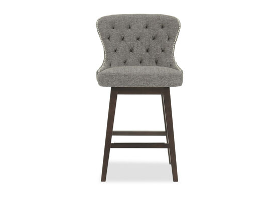 "Contemporary 38"" Tufted Bar Stool in Gray"
