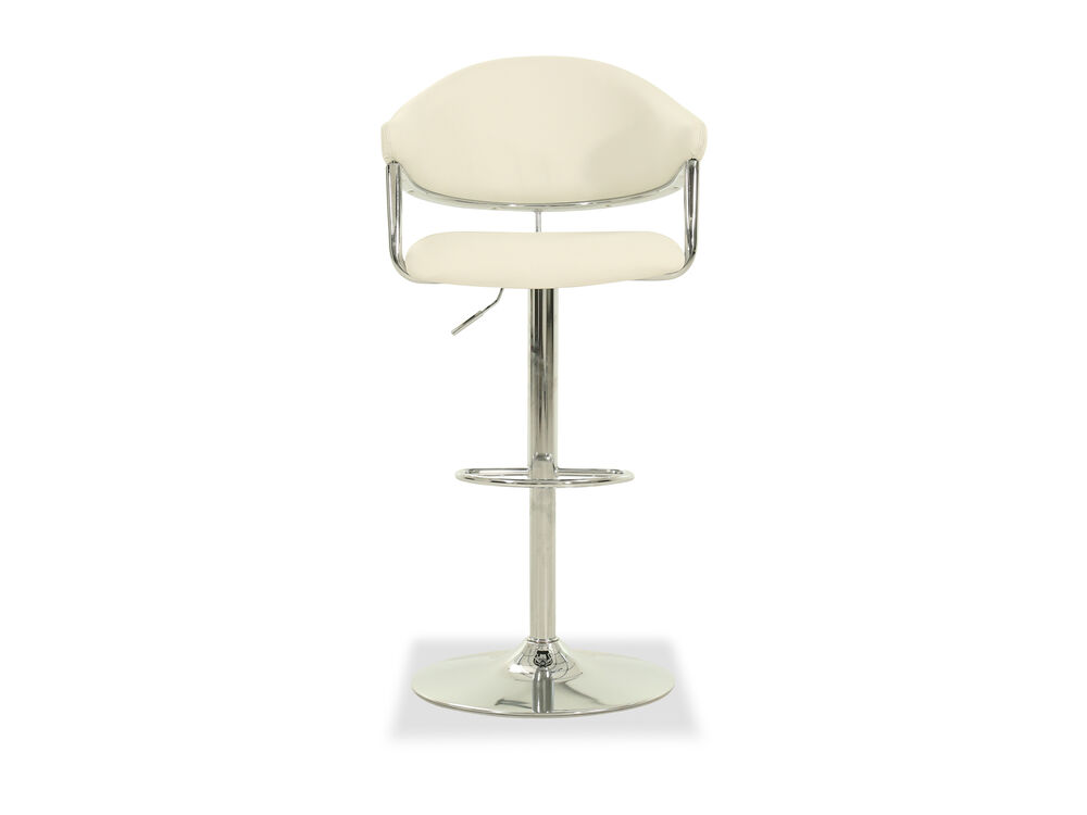 Leather Adjustable Bar Stool in White