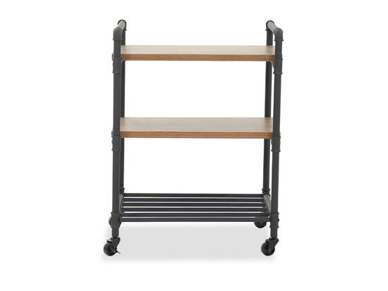 "Industrial 32"" Multi-Purpose Cart in Checked Oak"