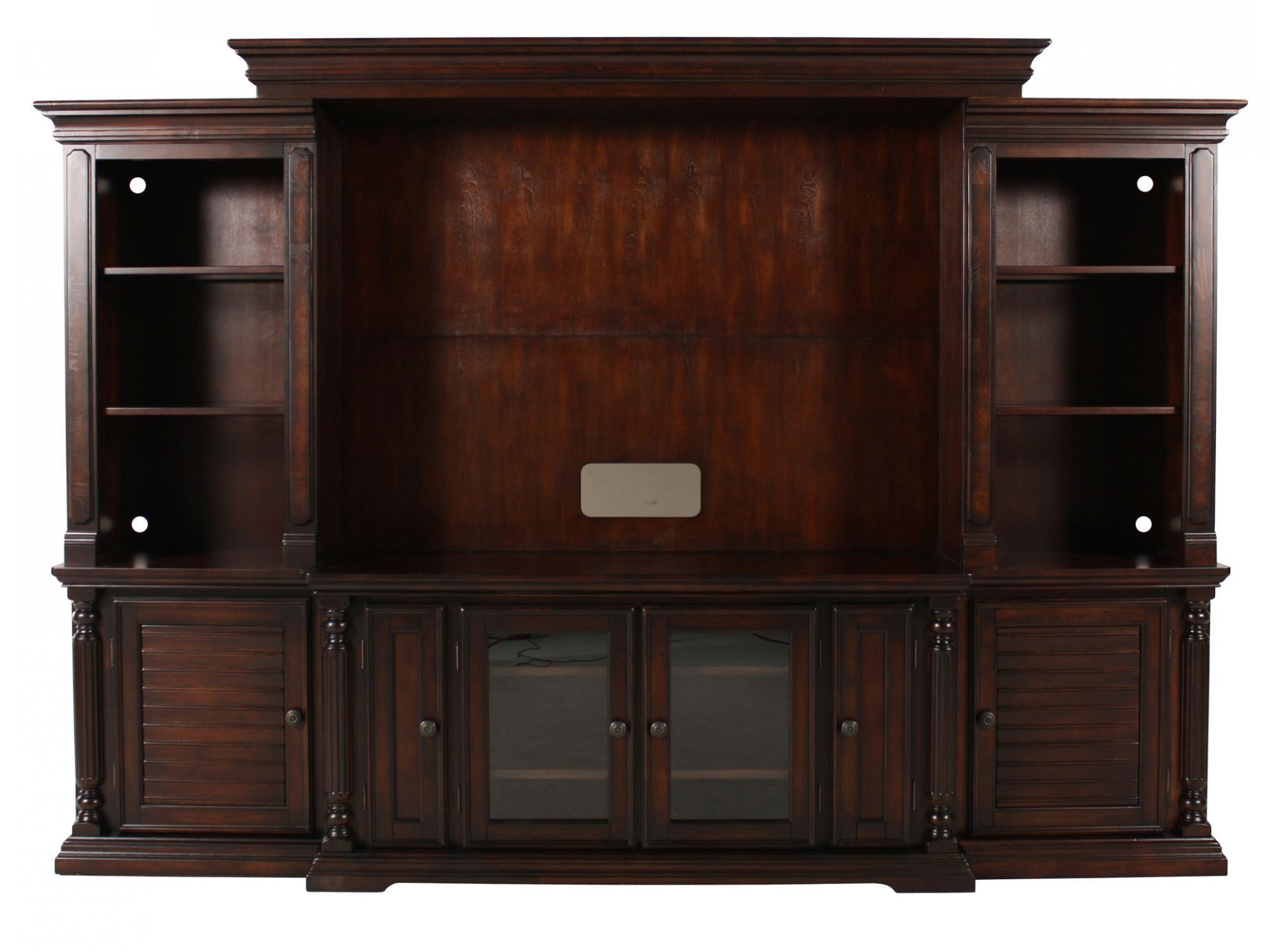 louvered doors traditional wall unit with console in dark brown rh mathisbrothers com