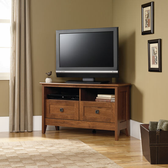 Divided Shelf Transitional Corner TV Stand in Medium Oak