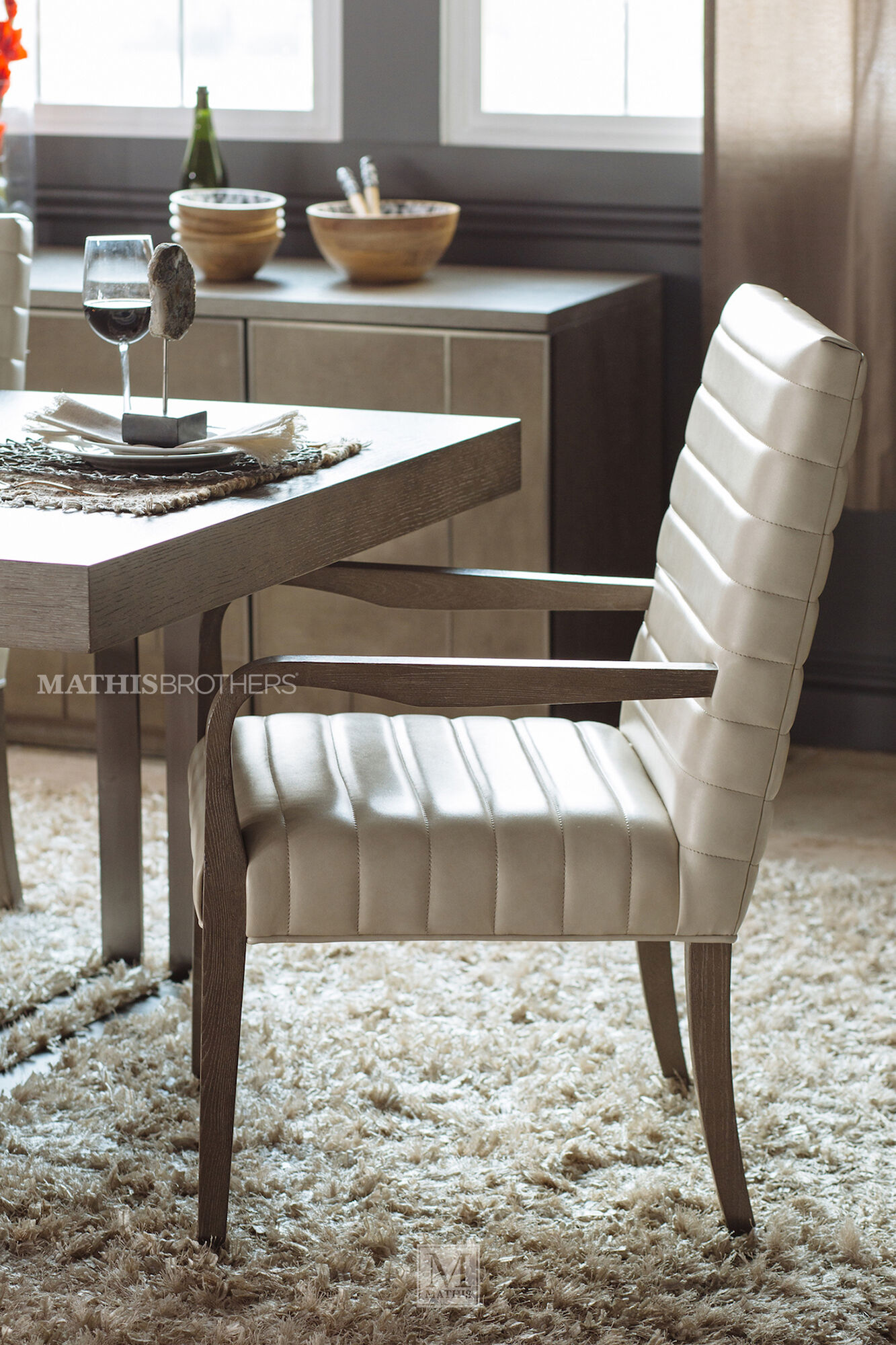 Solid Wood Dining Chairs: Solid Wood Dining Arm Chair In Beige