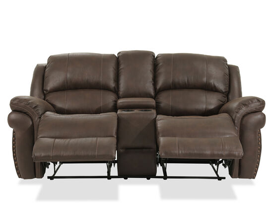 """Reclining Contemporary 86"""" Console Loveseatin Brown"""