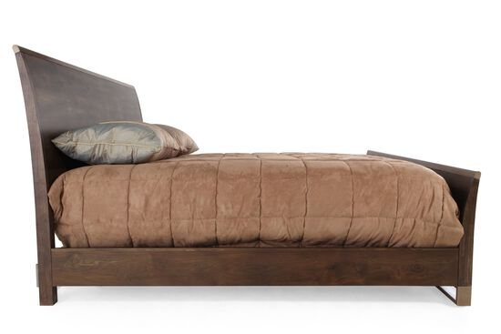 """52"""" Contemporary King Sleigh Bed in Dark Brown"""