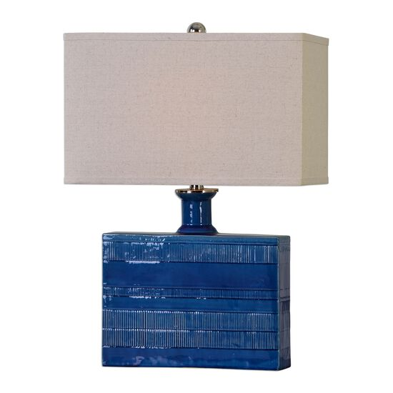 Rectangle Hardback Shade Textured Ceramic Table Lamp in Blue