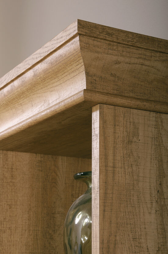 Transitional Tall Bookcase in Scribed Oak