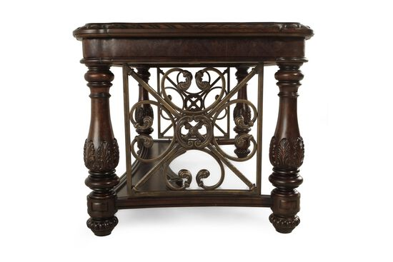 """85"""" Vine-Detailed Traditional Writing Desk in Brown"""