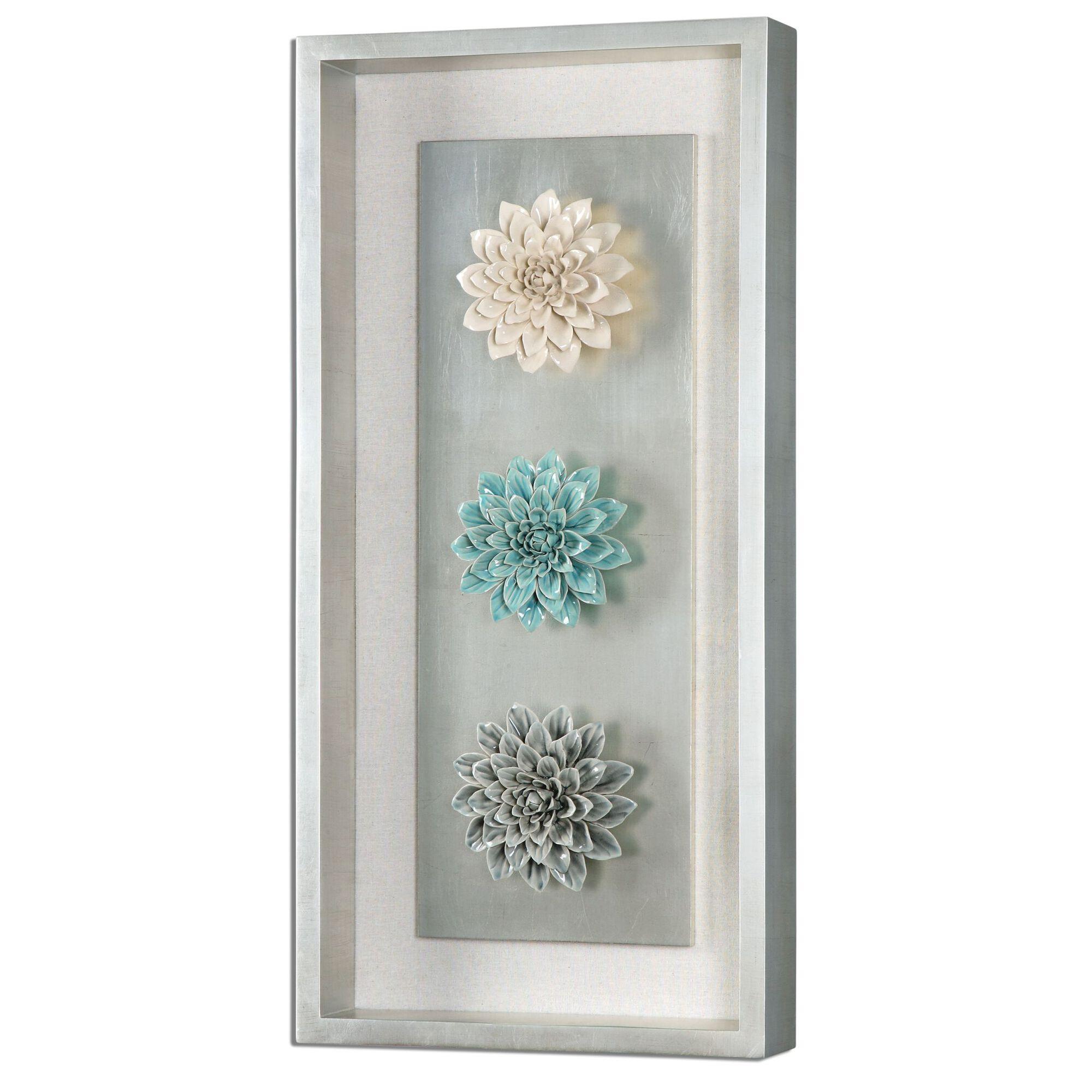 Ceramic Wall Flower Decor: Framed Ceramic Flower Wall Art In Silver Leaf